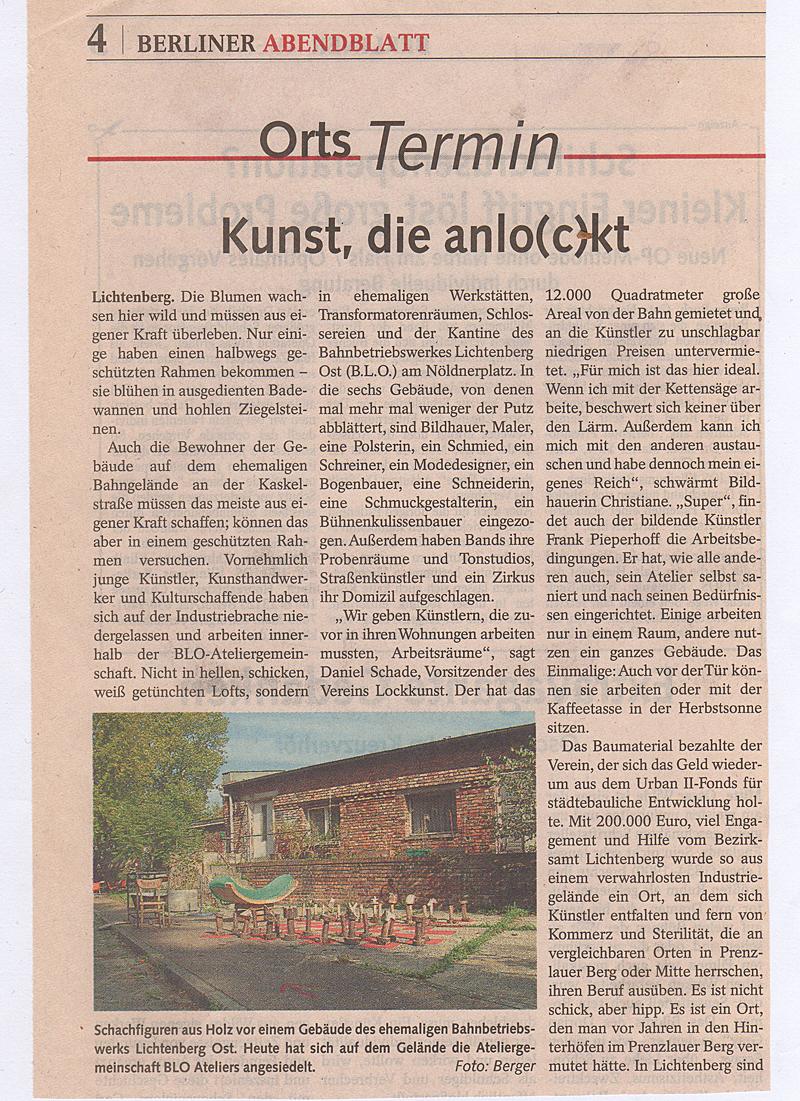 Kunst, die anlockt: die BLO Ateliers im Berliner Abendblatt, Okt. 2006