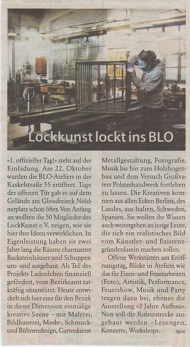 Lockkunst lockt ins BLO - BZ-Berlin Okt 2006