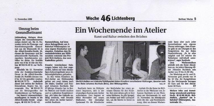 Ein Wochnende im Atelier, Berliner Woche Lichtenberg, Nov. 2009