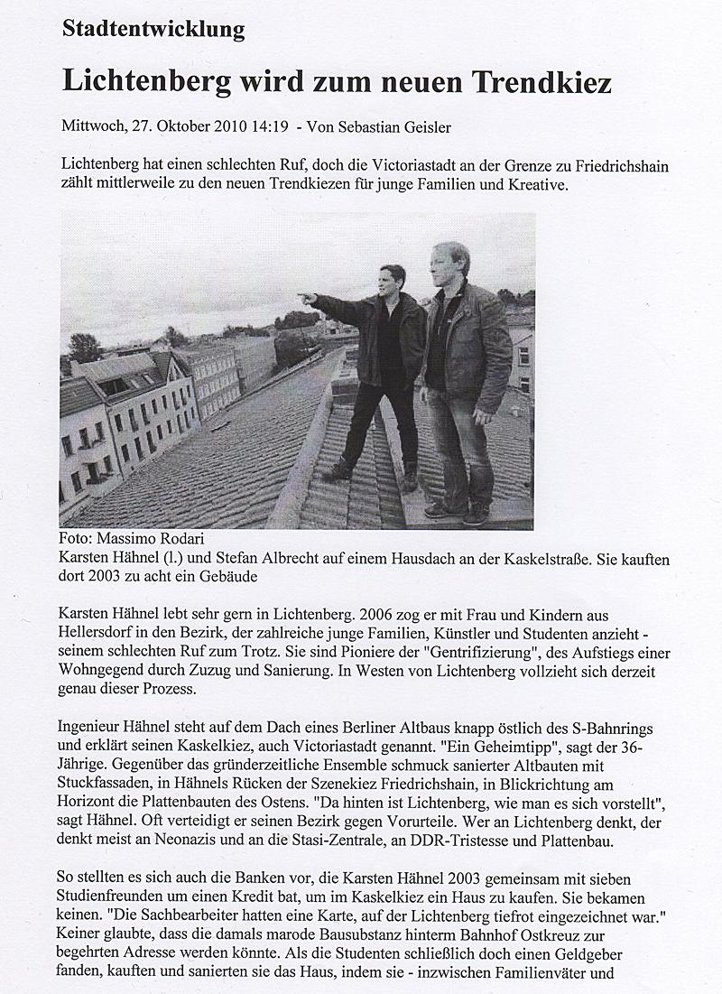 Trendkiez Lichtenberg - Blo Ateliers in der Berliner Morgenpost, Okt. 2010, S.1