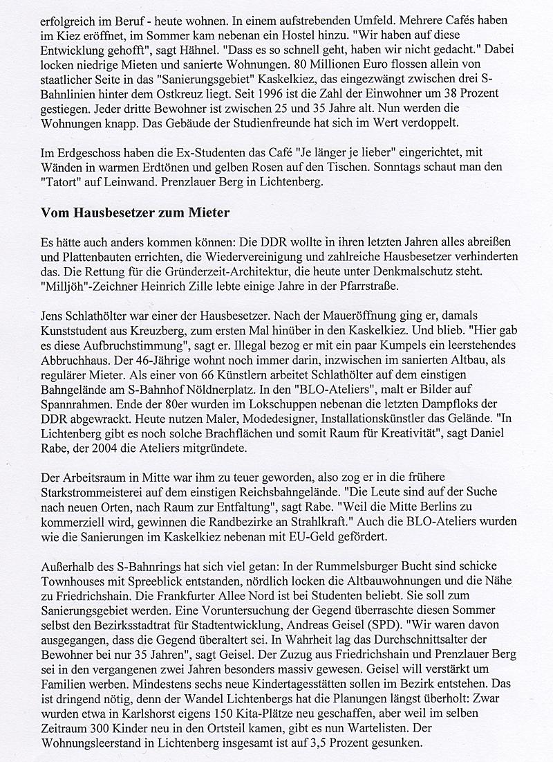 Trendkiez Lichtenberg - Blo Ateliers in der Berliner Morgenpost, Okt. 2010, S.2