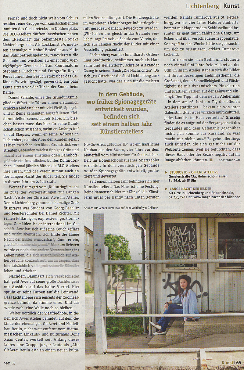 Kunst in Lichtenberg Blo-Ateliers im Tip-Magazin, Juni 2011 S.2
