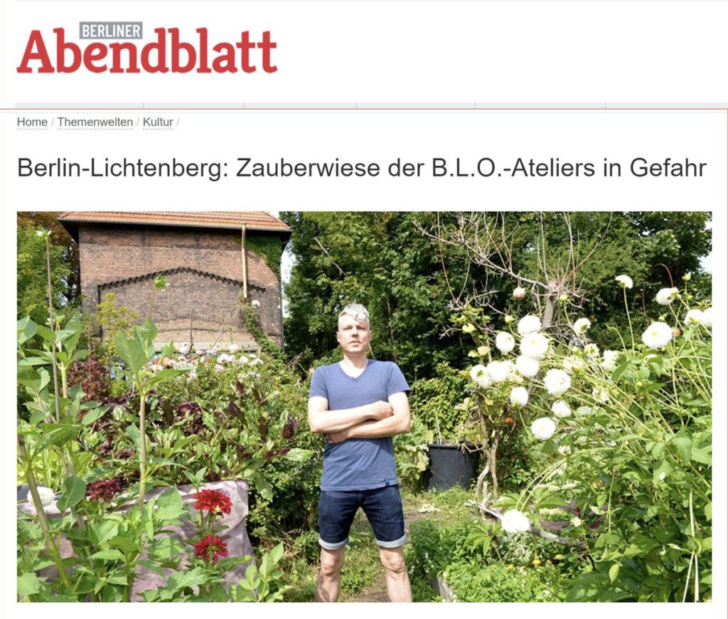 Berliner Abendblatt 06.08.2020 - Zauberwiese der B.L.O.-Ateliers in Gefahr