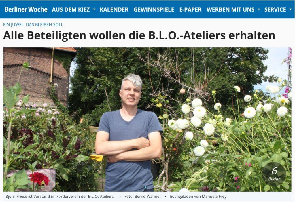 Berliner Woche 17.08.2020 - Ein Juwel, das bleiben soll. Alle Beteiligten wollen die B.L.O.-Ateliers erhalten