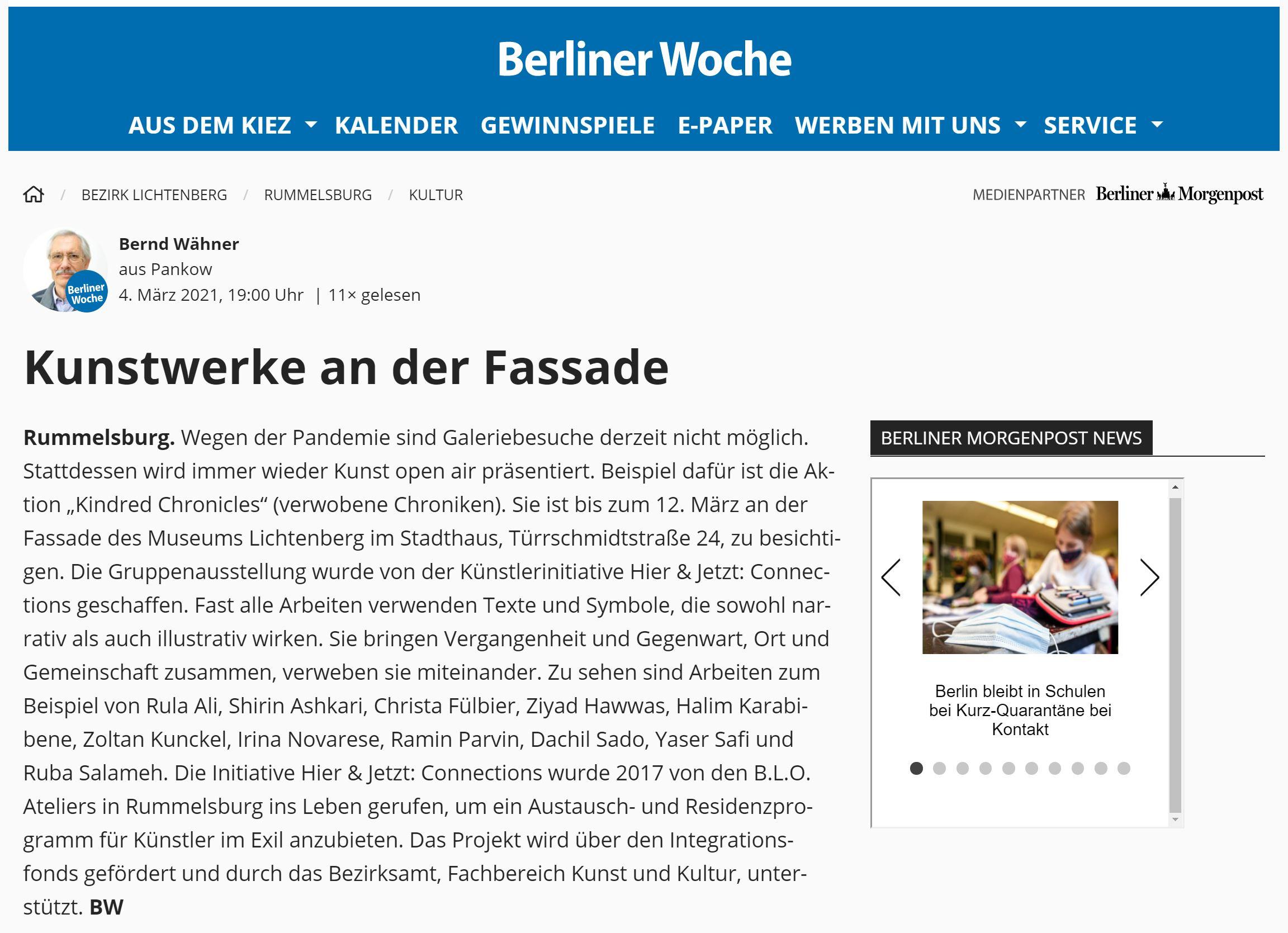 Berliner Woche 04.03.21 Kunstwerke an der Fassade des Museums Lichtenberg