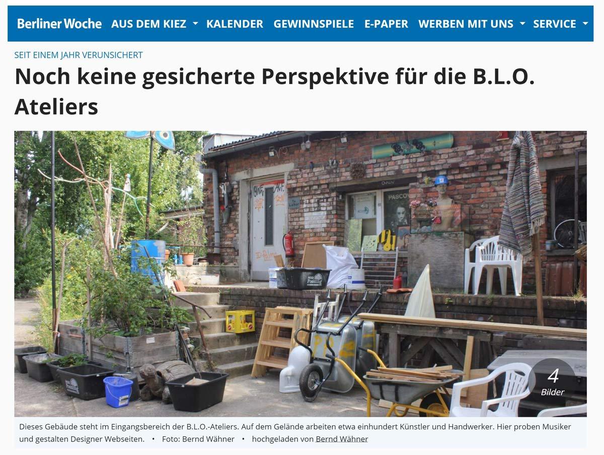 Berliner Woche 30.06.21: unsichere Perspektive für die B.L.O. Ateliers