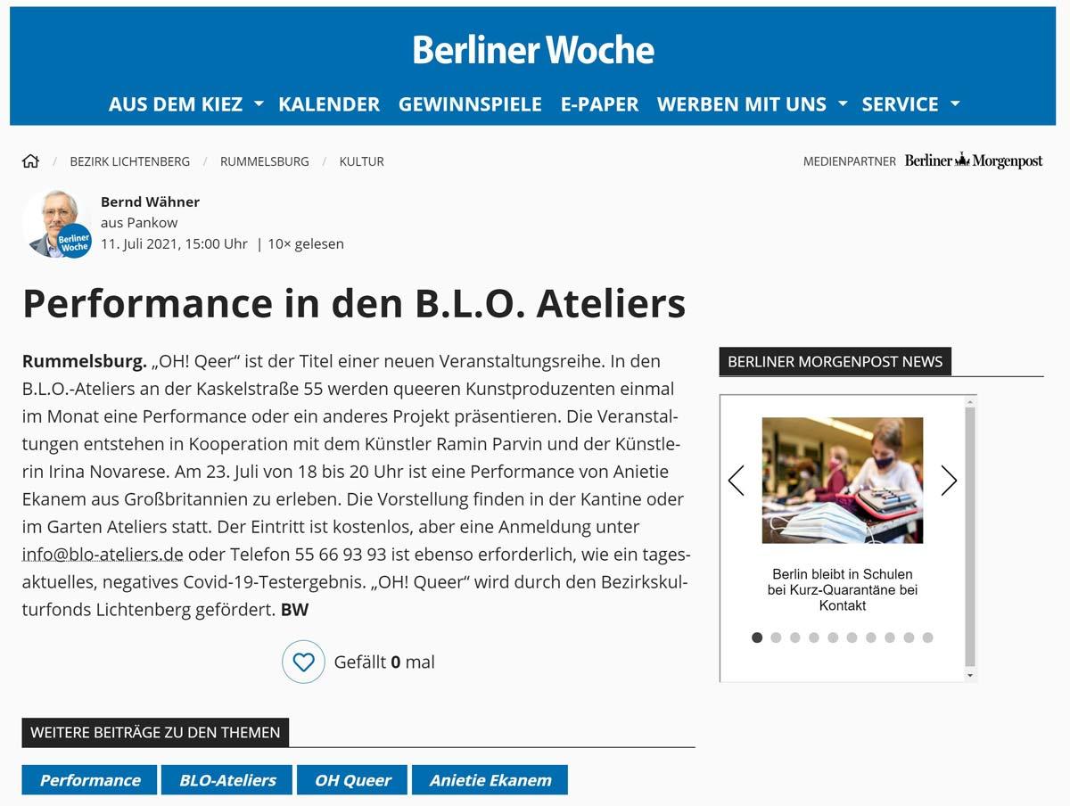 Berliner Woche 11.07.21 - Performance in den B.L.O. Ateliers