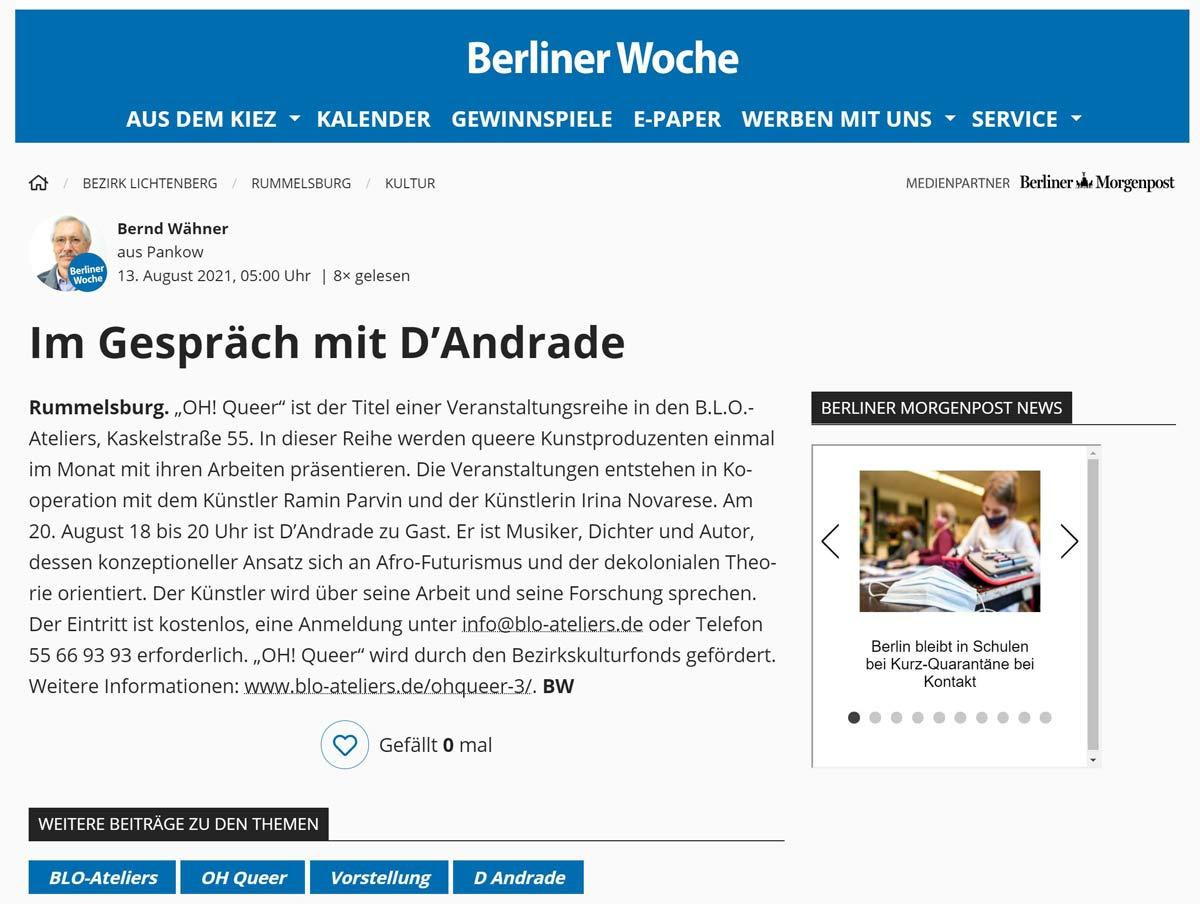 Berliner Woche 13.08.21 - Im Gespräch mit D'Andrade