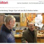 Berliner Abendblatt 18.12.2019 - Gregor Gysi will den B.L.O-Ateliers helfen