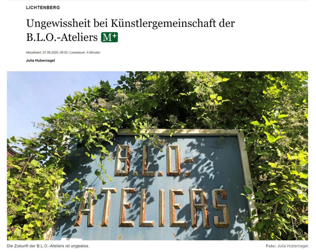 Berliner Morgenpost 07.08.20: Ungewissheit bei der Künstlergemeinschaft der B.L.O. Ateliers