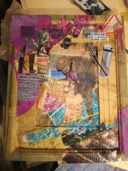 Bettina Jungwirth: Geschichte gestalten. Collage aus Siebdrucken und alter, verlassener Literatur von der Straße