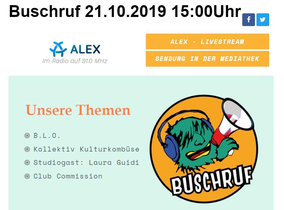 Buschrufradio am 21.10.2019 zu den B.L.O. Ateliers