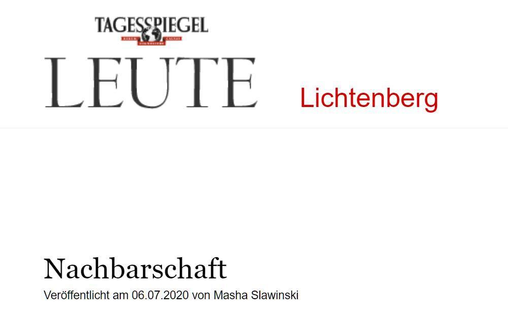 Tagesspiegel Leute Lichtenberg 06.07.2020 – Nachbarschaft: B.L.O. Ateliers