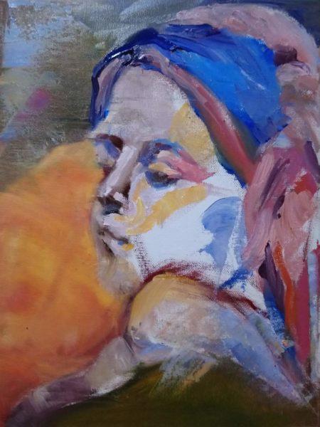 Cornelia Es Said: untitled bust 1. Öl auf Leinwand, 30 x 40 cm