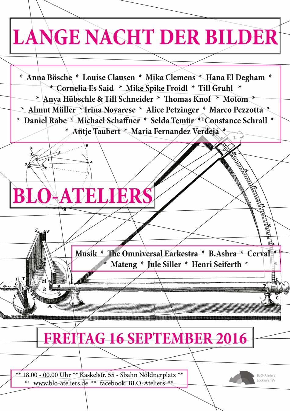Lange Nacht der Bilder in den BLO-Ateliers: Plakat (Jpg/web)