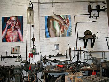 Tag der offenen Tür 2009 in den BLO-Ateliers, im Künstler-Atelier 3